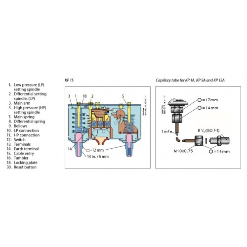 Danfoss Dual Pressure Switch KP 15 on